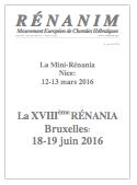 Annonce des Rénanias 2016
